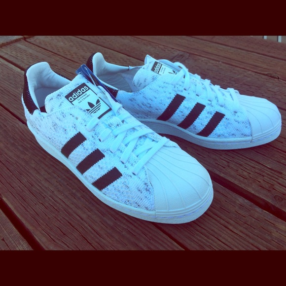 559fa1f44 RARE Knit Adidas Superstar 80s White Black Womens